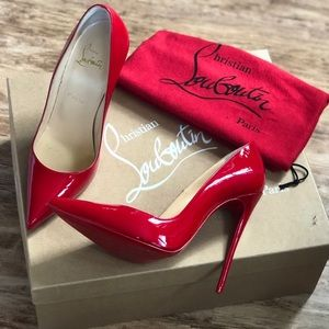 Red Christian Louboutin pumps.